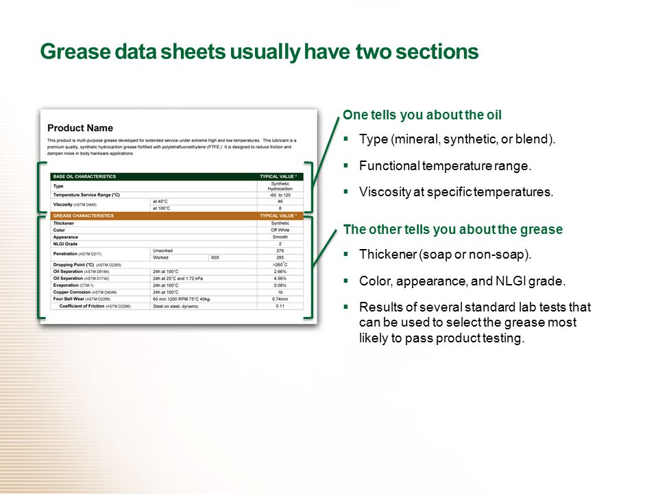 Grease data sheets usually have two sections
