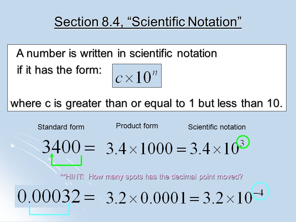 Section 8.4, Scientific Notation