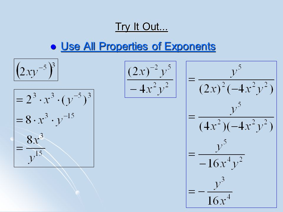 Use All Properties of Exponents