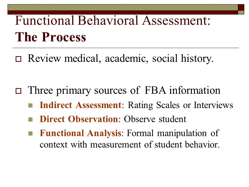 Functional Behavioral Assessment: The Process