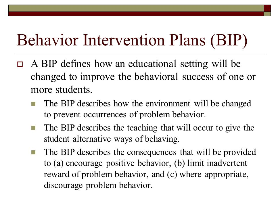 Behavior Intervention Plans (BIP)