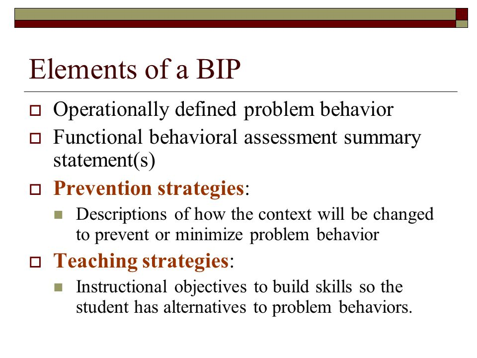 Elements of a BIP Operationally defined problem behavior