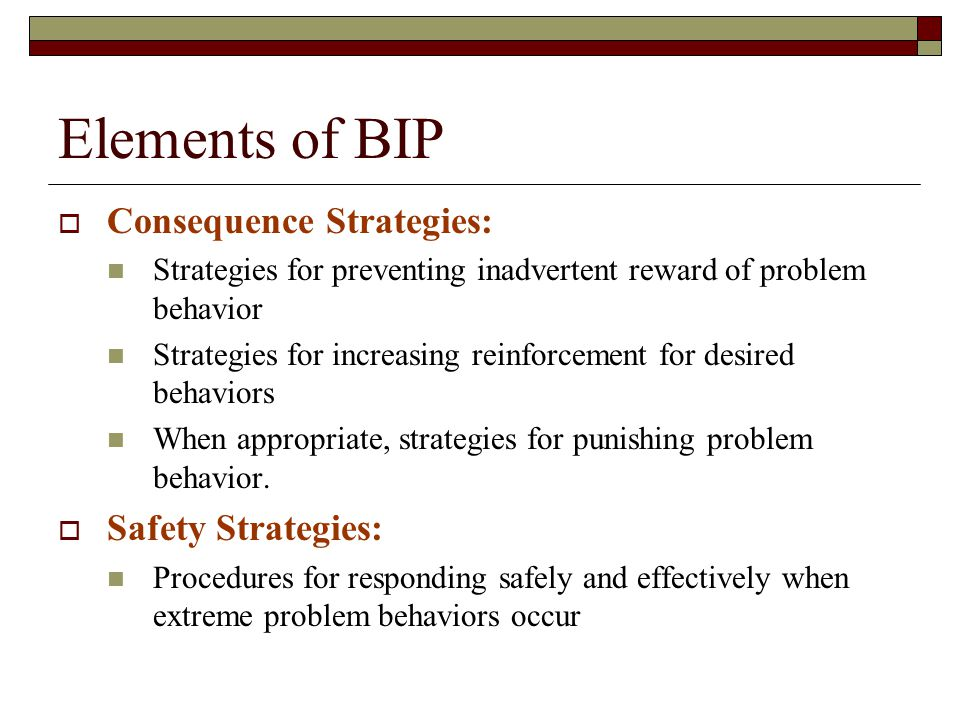 Elements of BIP Consequence Strategies: Safety Strategies:
