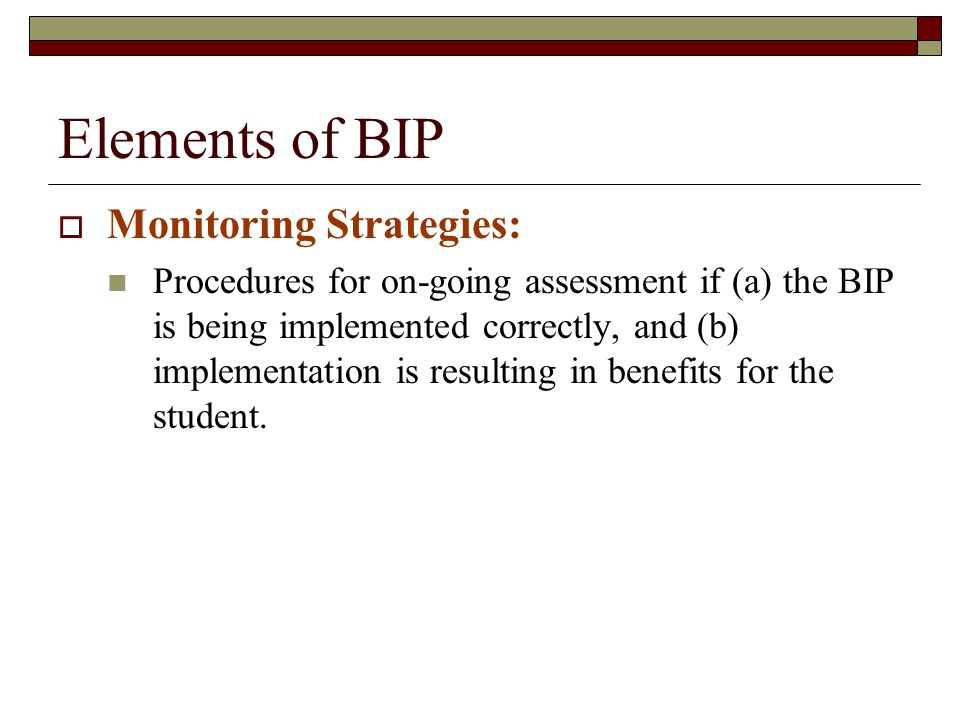 Elements of BIP Monitoring Strategies: