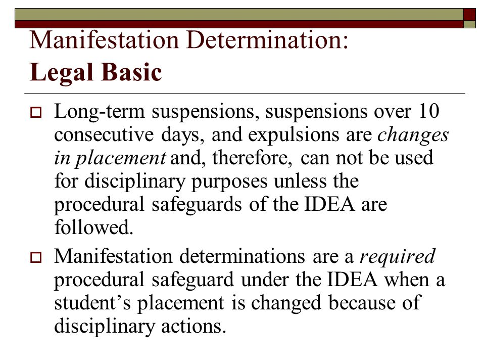 Manifestation Determination: Legal Basic
