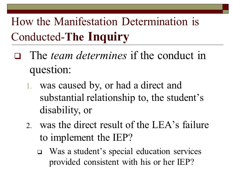 How the Manifestation Determination is Conducted-The Inquiry