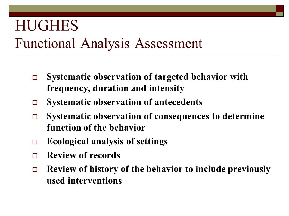 HUGHES Functional Analysis Assessment