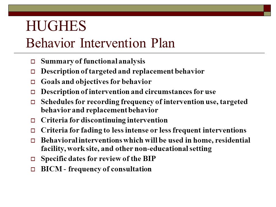 HUGHES Behavior Intervention Plan