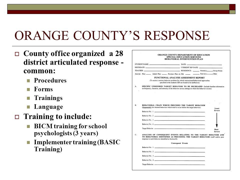 ORANGE COUNTY'S RESPONSE