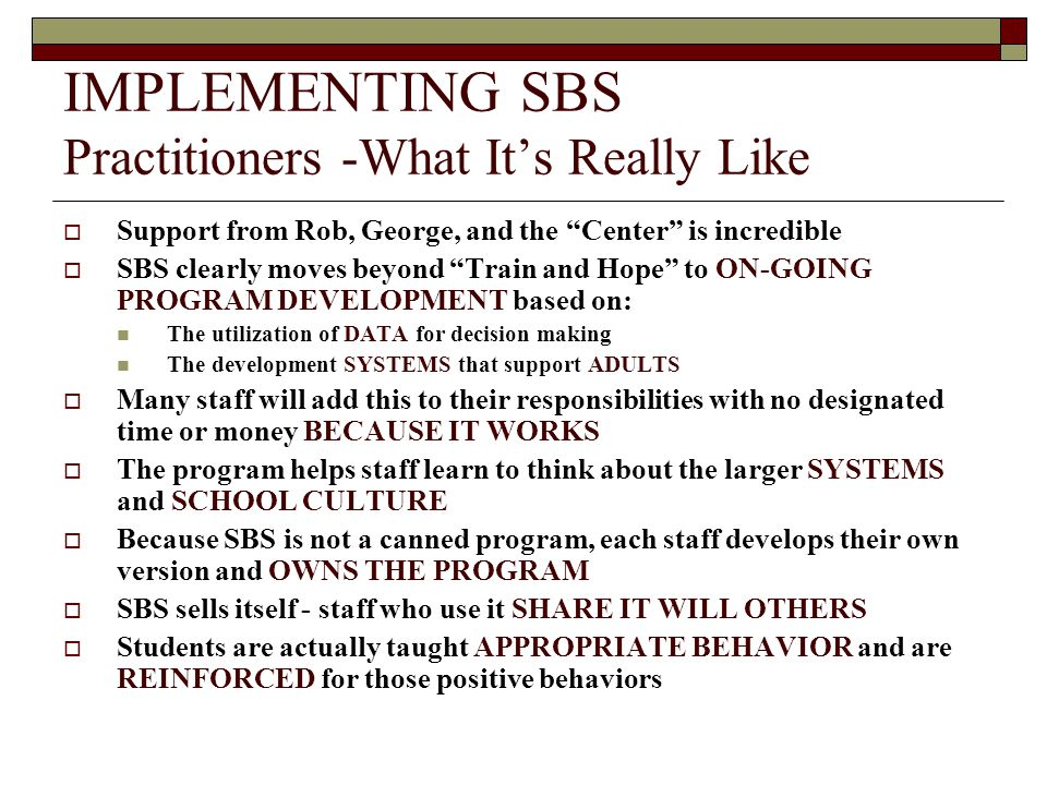 IMPLEMENTING SBS Practitioners -What It's Really Like