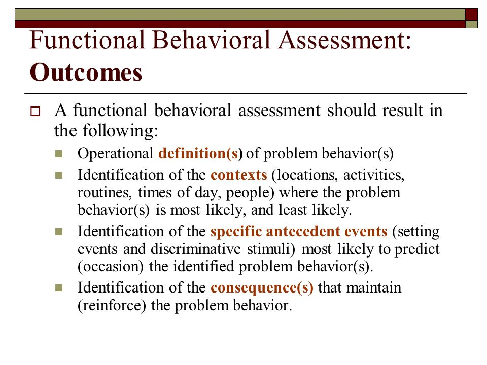 Functional Behavioral Assessment: Outcomes