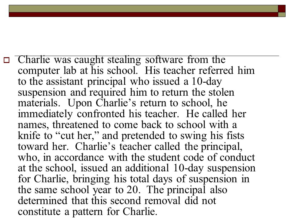 Charlie was caught stealing software from the computer lab at his school.