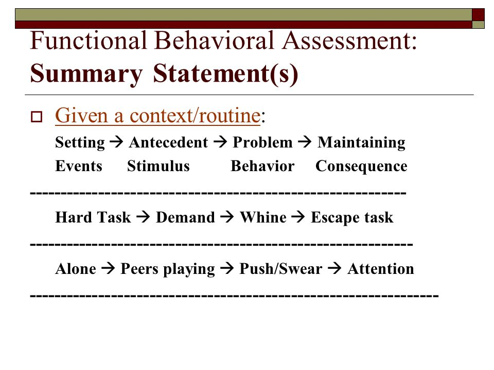 Functional Behavioral Assessment: Summary Statement(s)