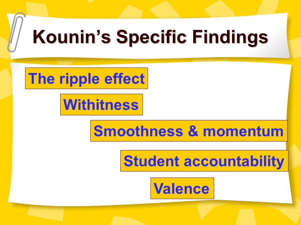 Kounin's Specific Findings