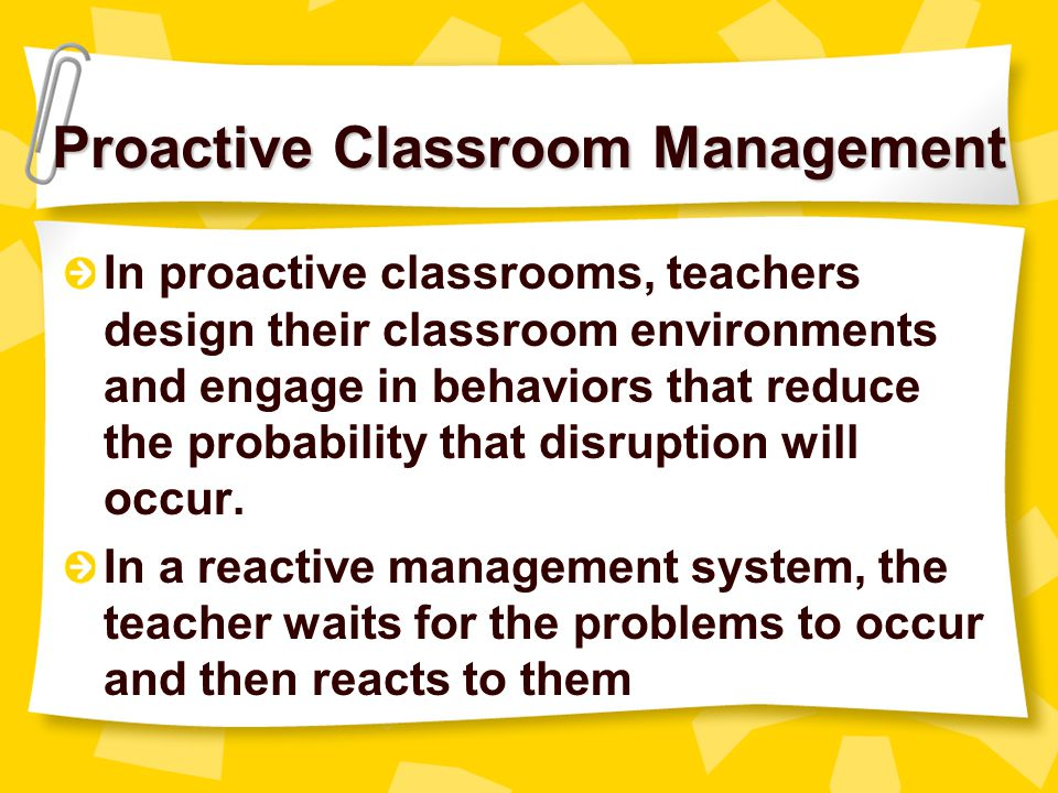 Proactive Classroom Management