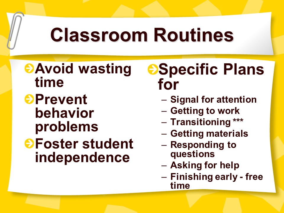 Classroom Routines Specific Plans for Avoid wasting time