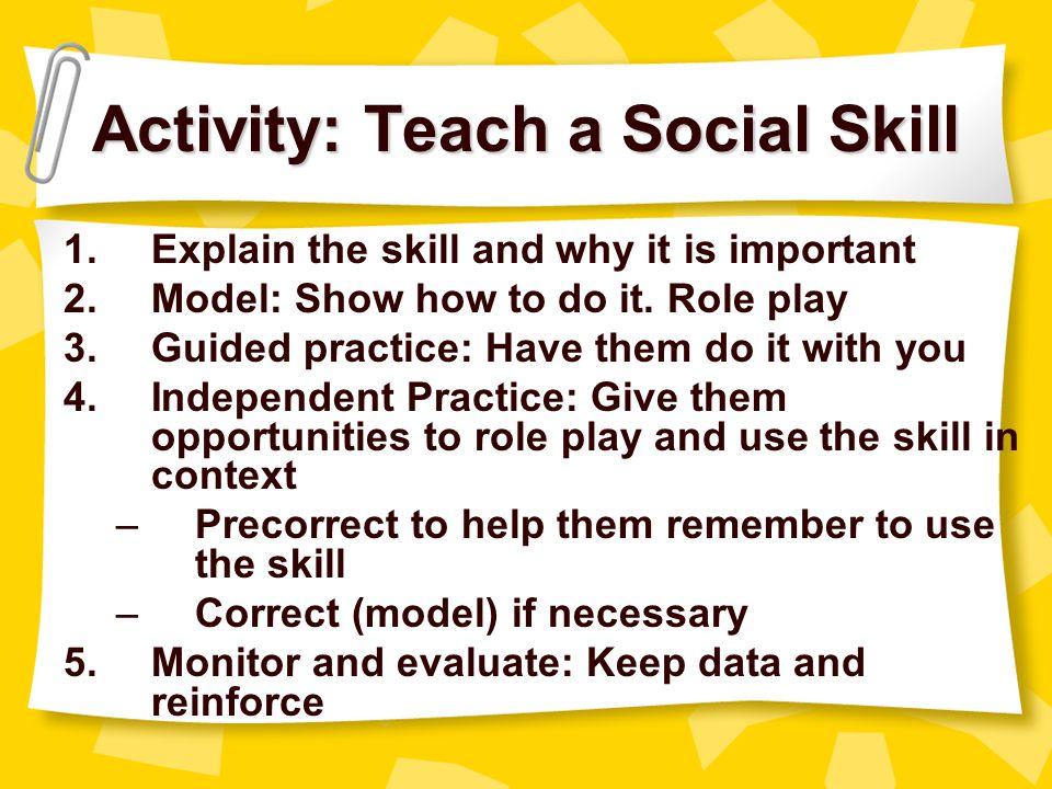 Activity: Teach a Social Skill
