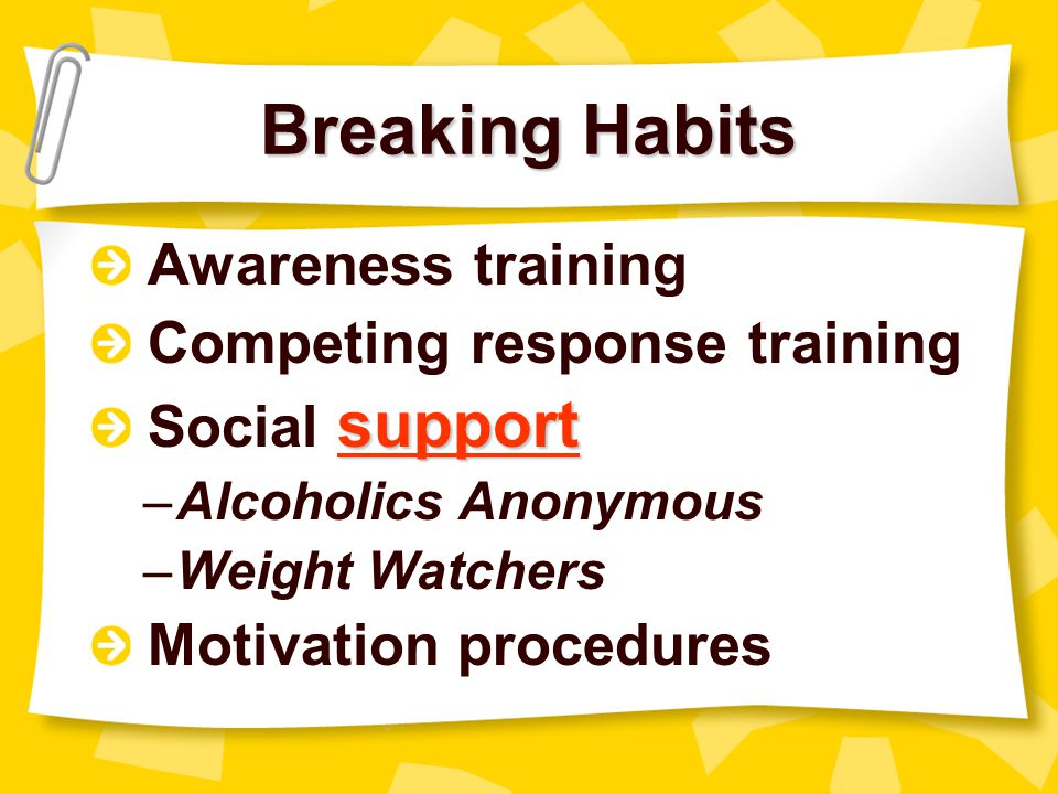 Breaking Habits Awareness training Competing response training