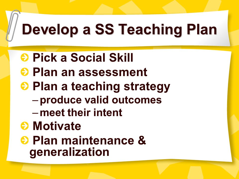 Develop a SS Teaching Plan