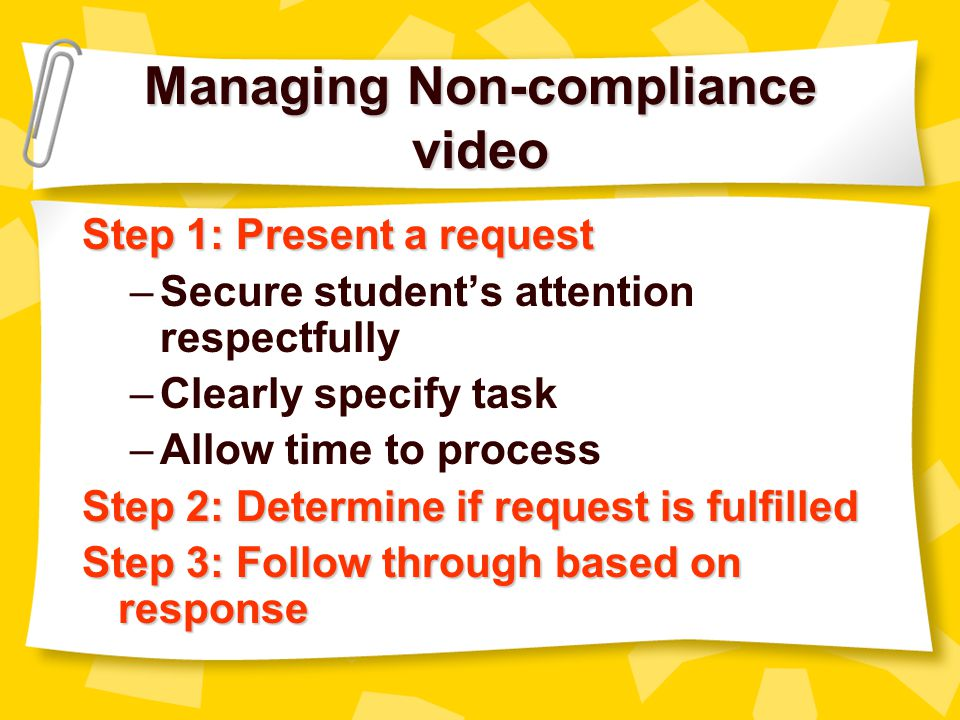 Managing Non-compliance video