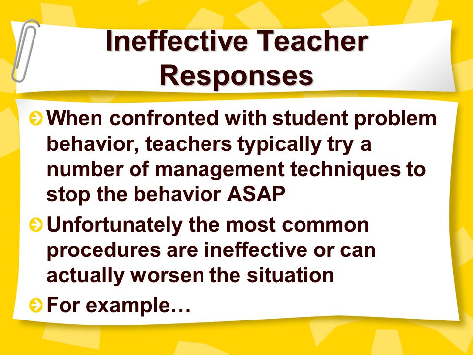 Ineffective Teacher Responses