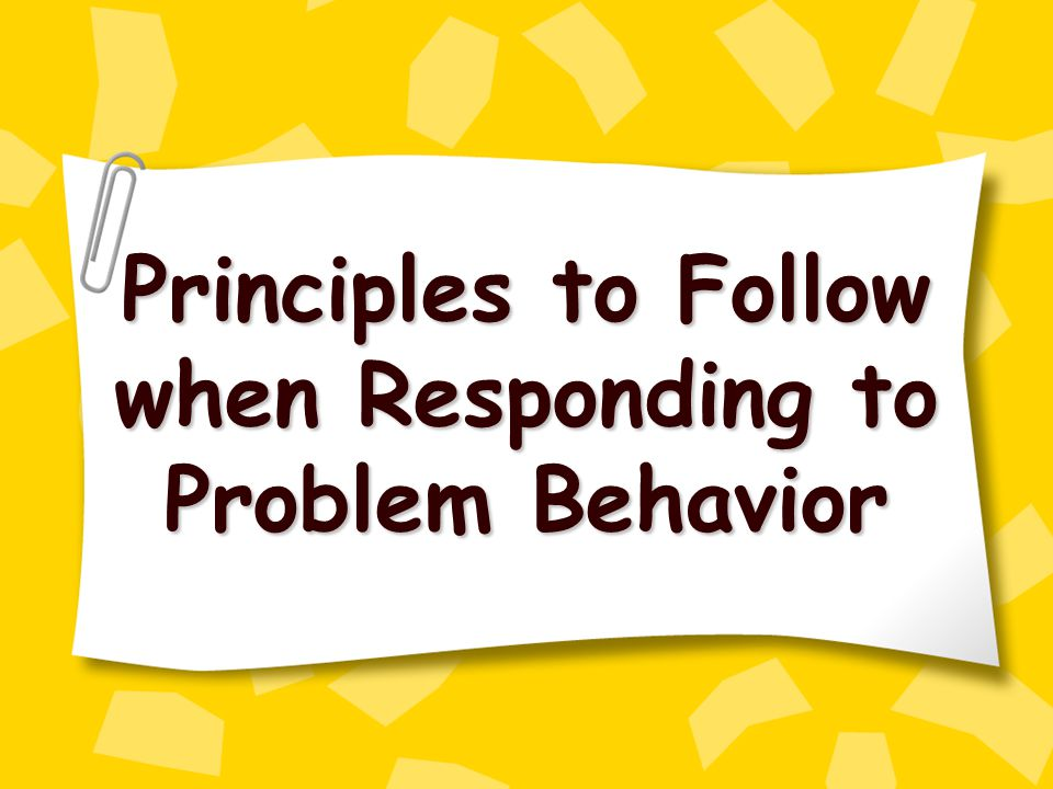 Principles to Follow when Responding to Problem Behavior