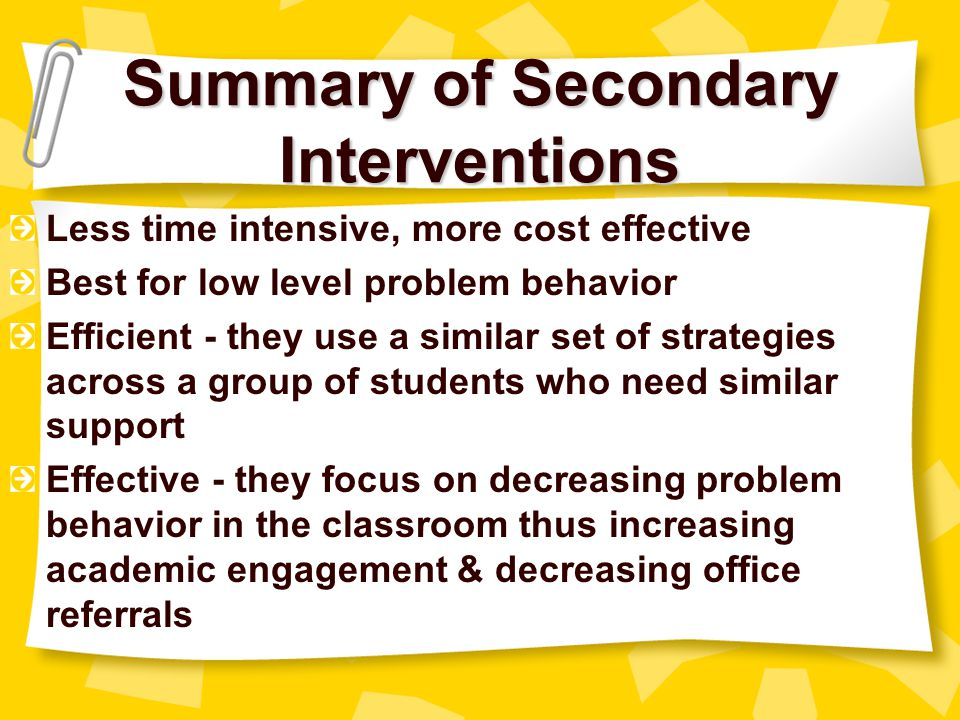 Summary of Secondary Interventions