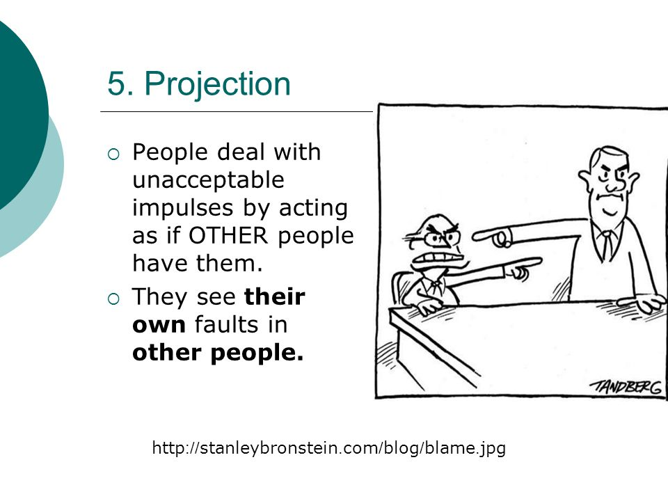 5. Projection People deal with unacceptable impulses by acting as if OTHER people have them. They see their own faults in other people.