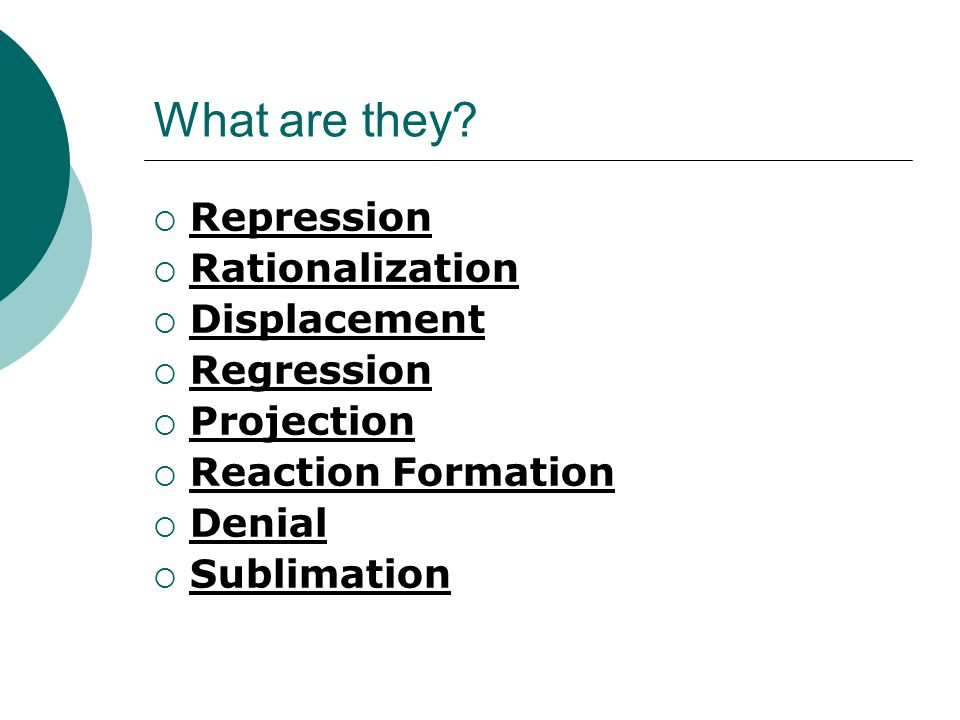 What are they Repression Rationalization Displacement Regression