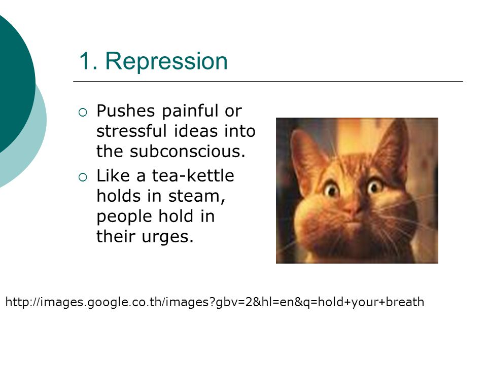 1. Repression Pushes painful or stressful ideas into the subconscious.