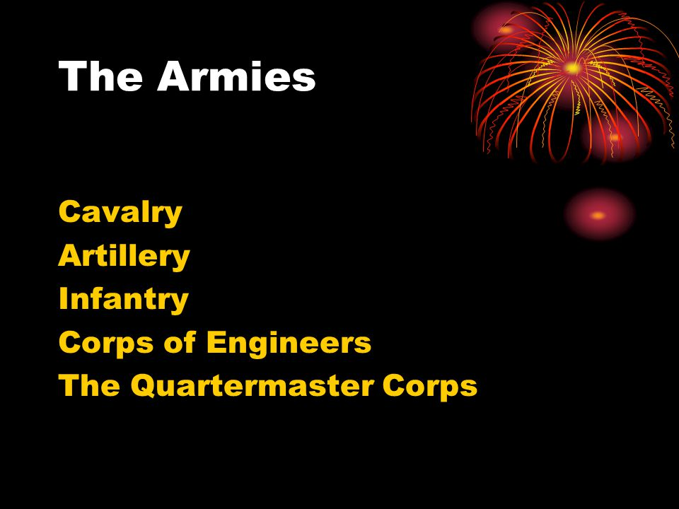 The Armies Cavalry Artillery Infantry Corps of Engineers