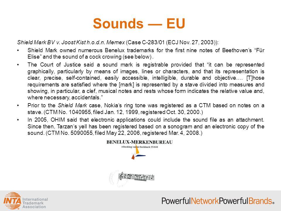 Sounds — EU Shield Mark BV v. Joost Kist h.o.d.n. Memex (Case C-283/01 (ECJ Nov. 27, 2003)):