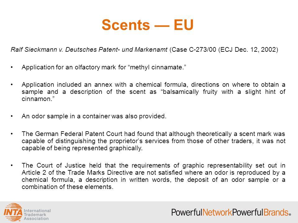 Scents — EU Ralf Sieckmann v. Deutsches Patent- und Markenamt (Case C-273/00 (ECJ Dec. 12, 2002)