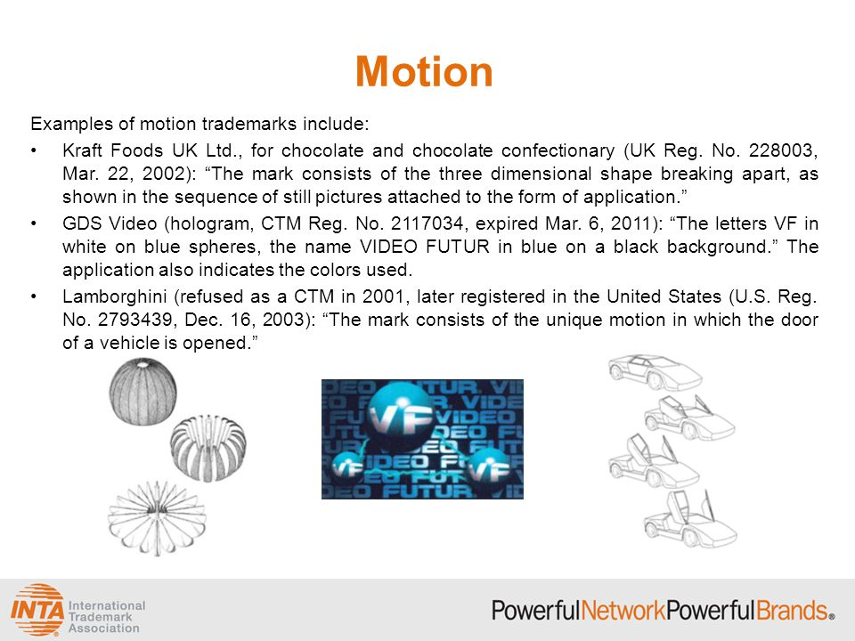 Motion Examples of motion trademarks include: