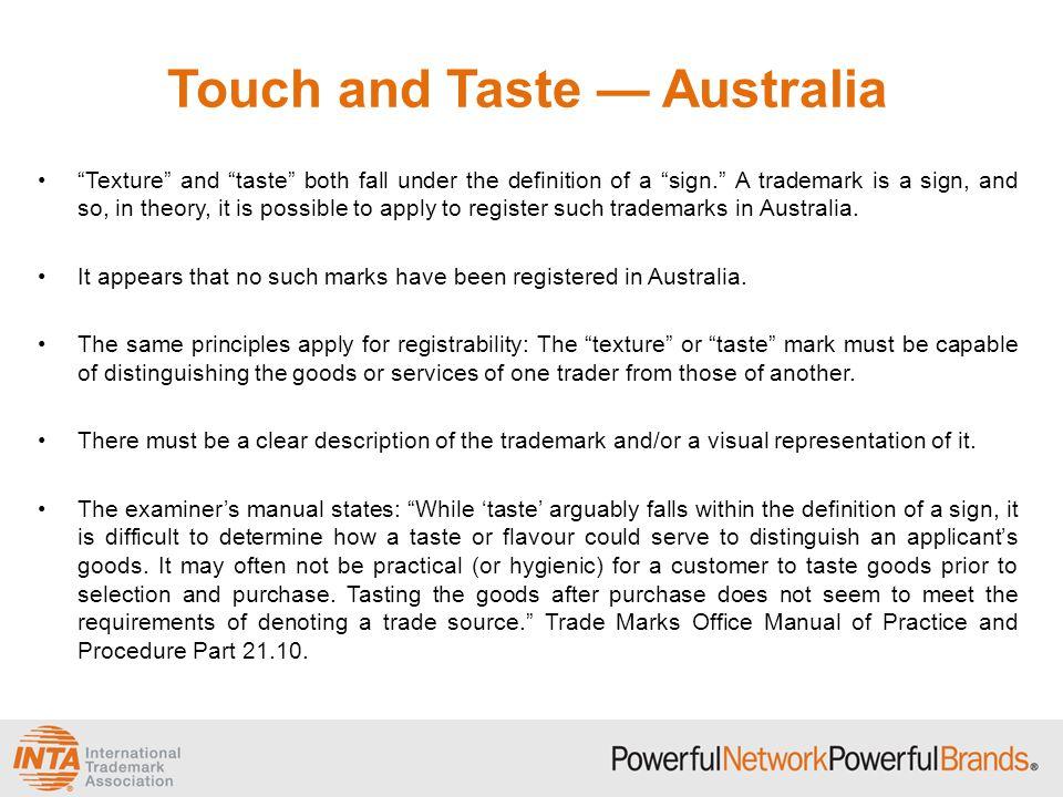 Touch and Taste — Australia