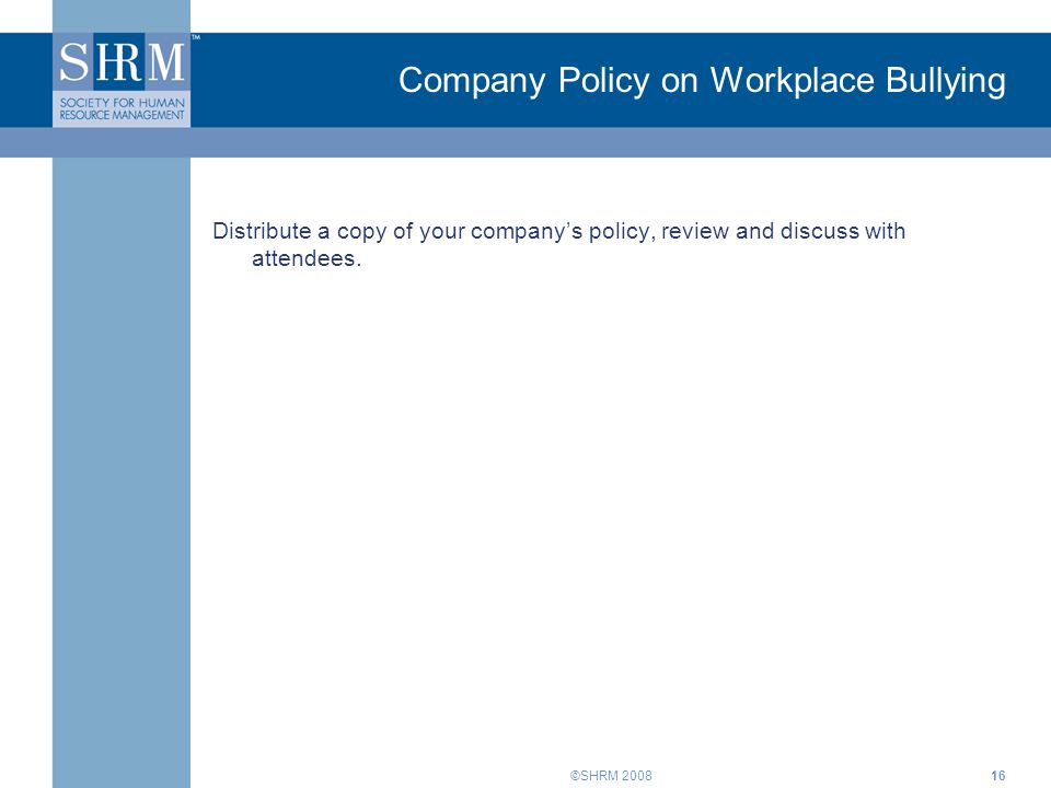 Company Policy on Workplace Bullying