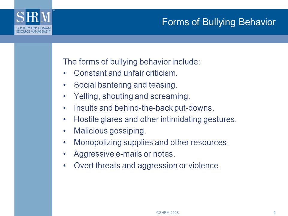 Forms of Bullying Behavior