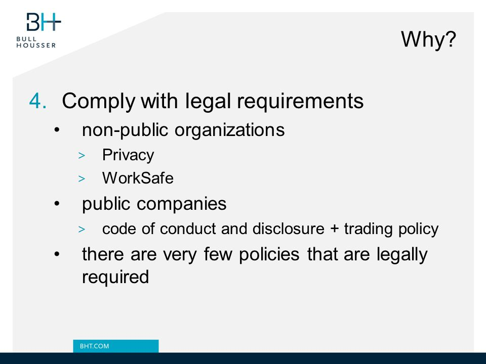Comply with legal requirements