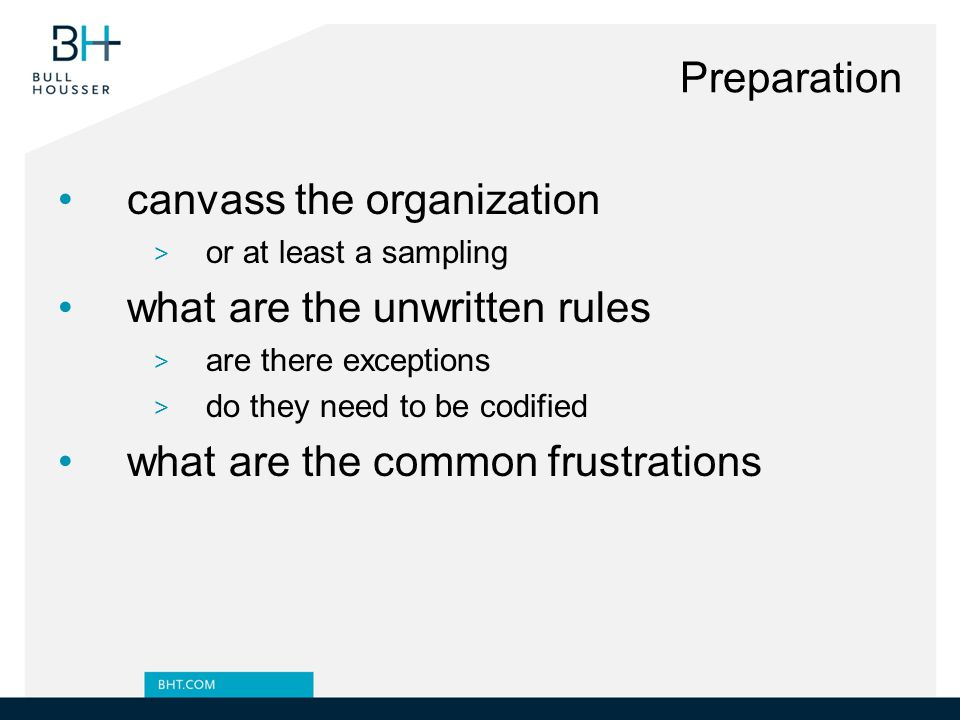 canvass the organization what are the unwritten rules