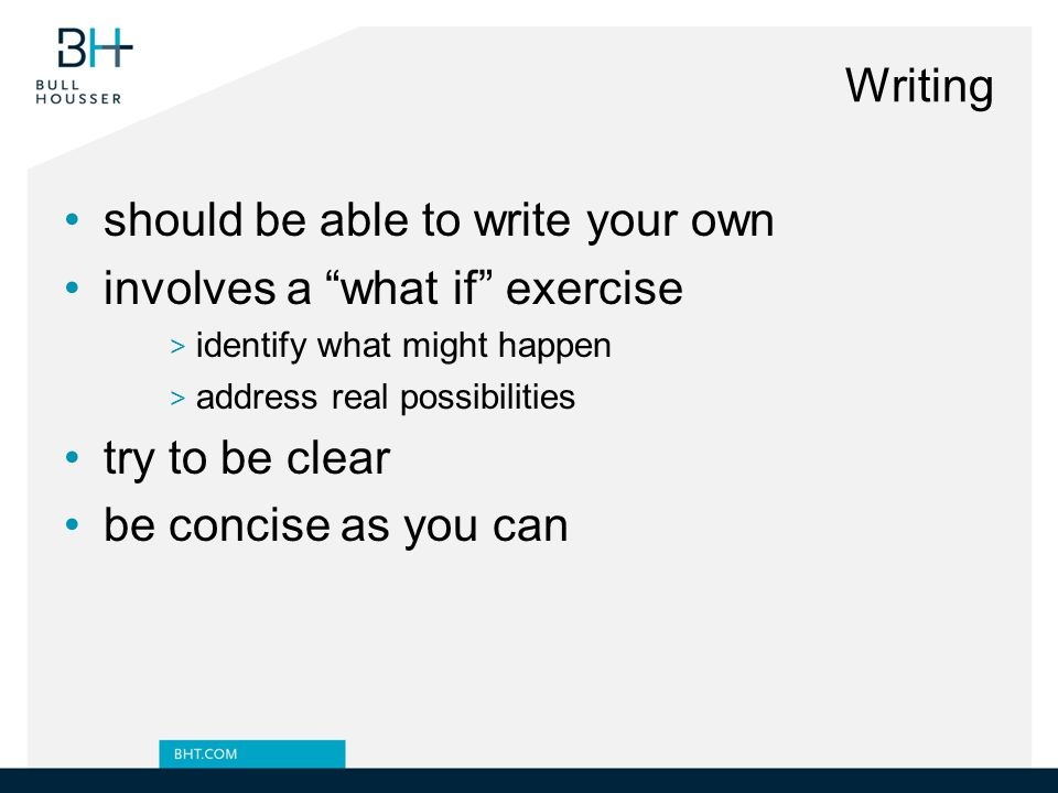 should be able to write your own involves a what if exercise