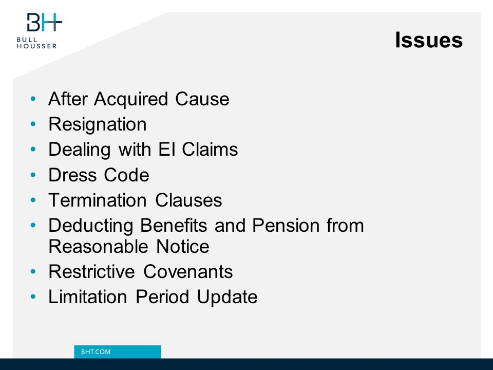 Issues After Acquired Cause Resignation Dealing with EI Claims