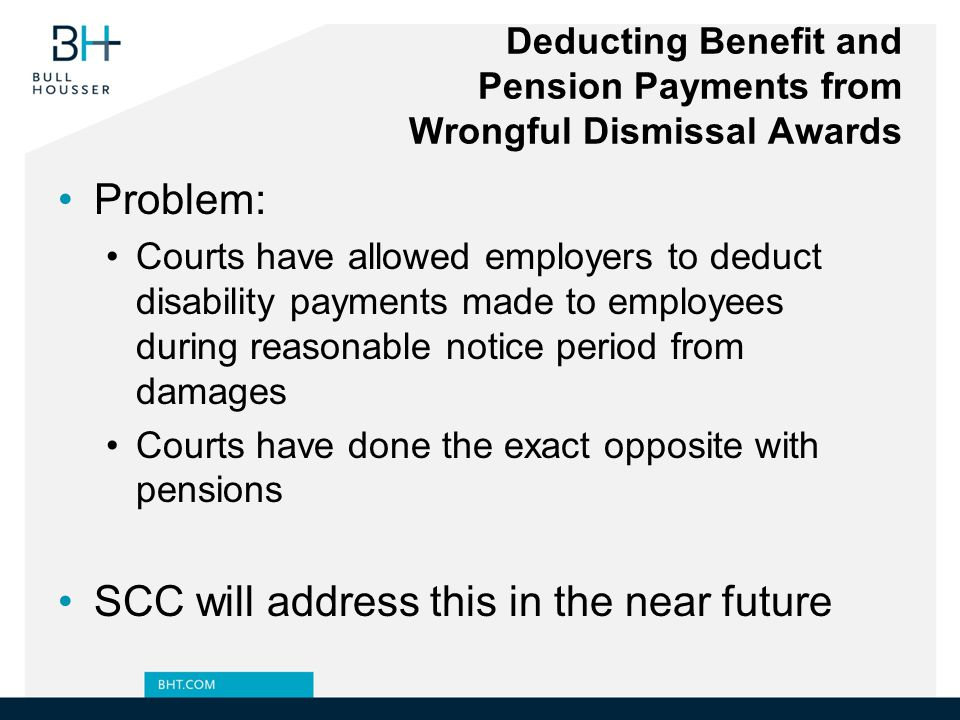 Deducting Benefit and Pension Payments from Wrongful Dismissal Awards