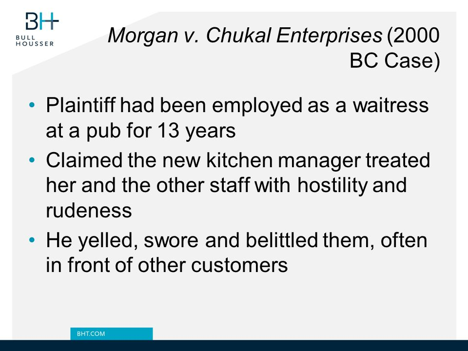 Morgan v. Chukal Enterprises (2000 BC Case)