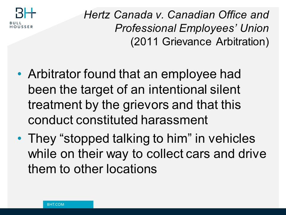 Hertz Canada v. Canadian Office and Professional Employees' Union (2011 Grievance Arbitration)