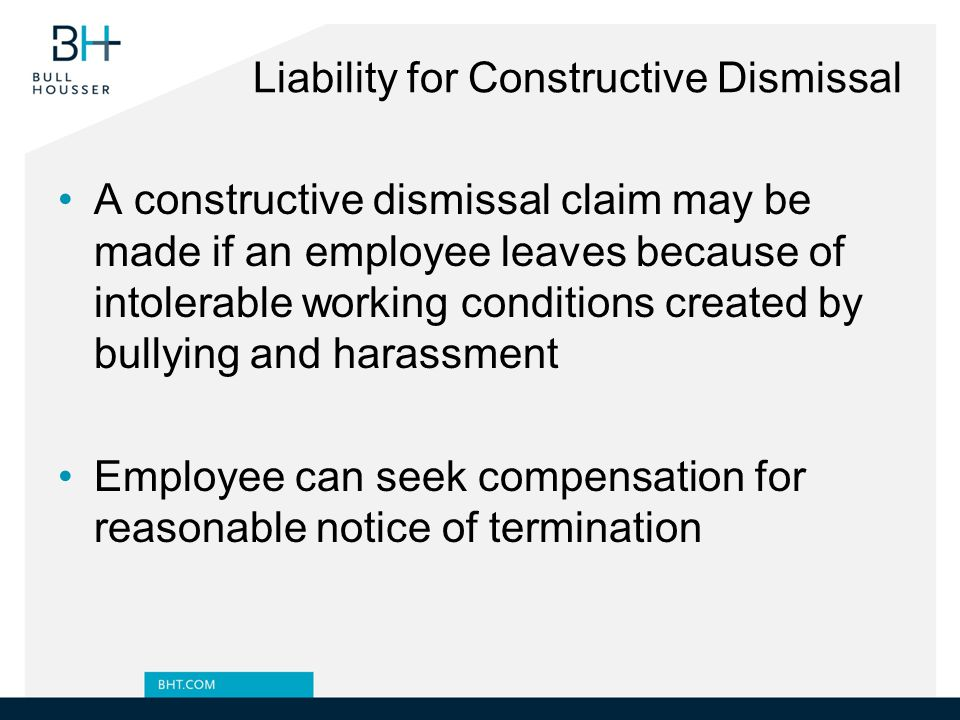 Liability for Constructive Dismissal