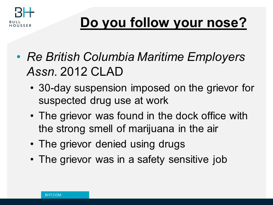 Do you follow your nose Re British Columbia Maritime Employers Assn. 2012 CLAD.
