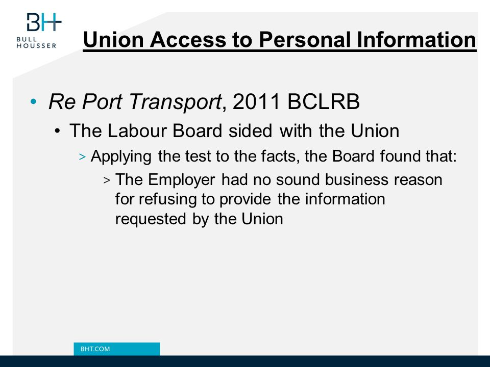 Union Access to Personal Information