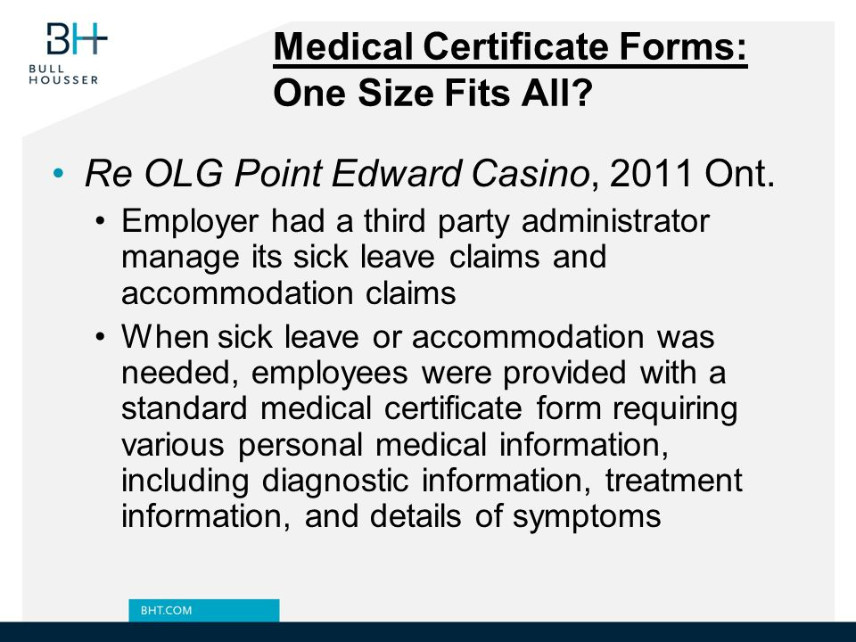 Medical Certificate Forms: One Size Fits All