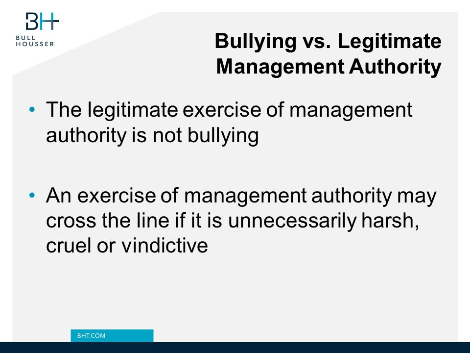 Bullying vs. Legitimate Management Authority