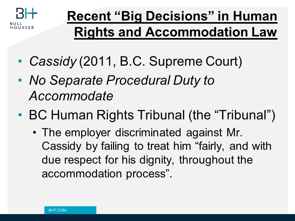 Recent Big Decisions in Human Rights and Accommodation Law